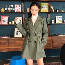 韩都衣舍2019春装新款女装韩版纽扣潮酷西装上衣NF11532潤0107