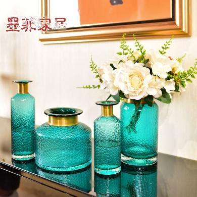 墨菲 简约现代蓝色玻璃水培花瓶 北欧创意客厅餐桌水培花瓶摆件