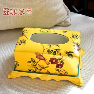 墨菲美式鄉村陶瓷紙巾盒新中式客廳餐桌茶幾裝飾抽紙巾盒家居擺件