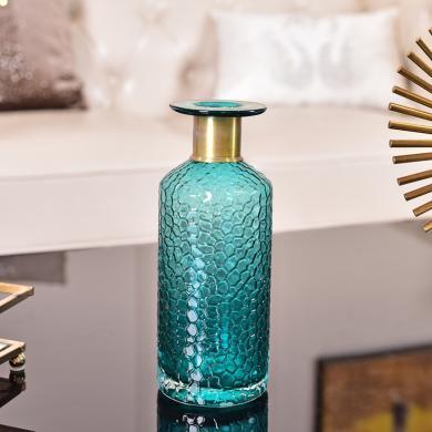 墨菲 簡約現代藍色玻璃水培花瓶 北歐創意客廳餐桌水培花瓶擺件