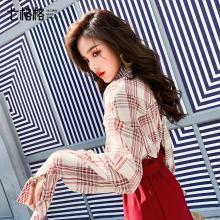 紅色格子襯衫女長袖寬松韓版2019春季新款百搭學生港味襯衣外套潮