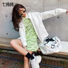 七格格學生運動上衣春裝2019新款立領機車外套女韓版寬松棒球服潮