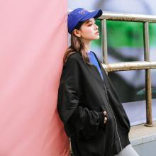七格格春季外套女2019新款潮韓版寬松bf學生百搭黑色棒球服中長款