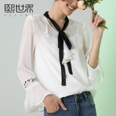 熙世界V領蝴蝶結雪紡襯衫女2019春裝新款俏皮靈動上衣白色襯衣女