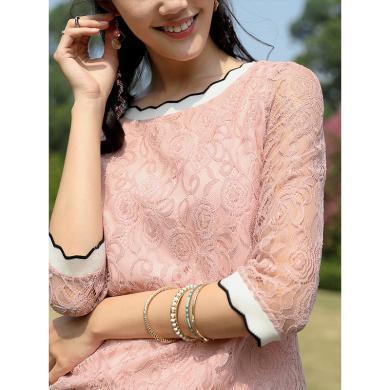 熙世界粉色蕾絲上衣女超仙2019春裝新款韓版性感小衫七分袖蕾絲衫