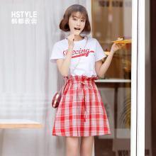 韩都衣舍2019夏装新款韩版短袖格子裙两件套时尚套装IG8355僥0302