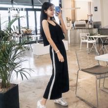 韓都衣舍2019夏裝新款韓版女裝寬松連體九分休閑褲GW10381阨