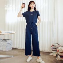 韩都衣舍2019新款春装韩版气质字母系带两件套时尚套装女CQ9037莀