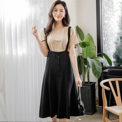 韓都衣舍2019新款韓版女裝兩件套短袖A字背帶裙套裝MR9021汩0302
