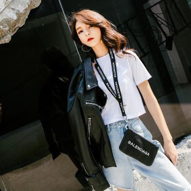 七格格白色t恤女2019新款短袖ins潮短款春季上衣韓版百搭打底衫潮