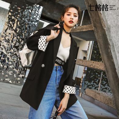 七格格黑色chic小西裝外套女裝2019新款春季寬松復古韓版休閑西服