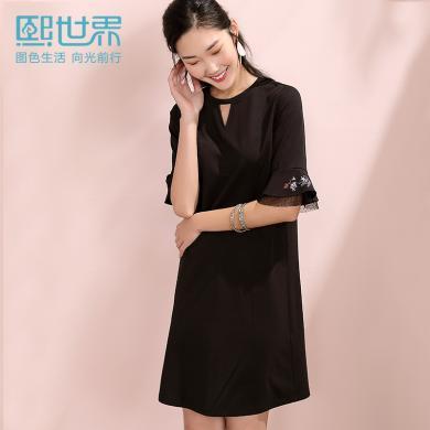 熙世界刺繡蕾絲喇叭袖連衣裙女2019夏季新款輕熟女裝黑色短袖裙子