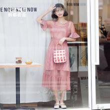 韩都衣舍2019新款女装夏装韩版格子网纱两件套连衣裙LZ8712烎0309
