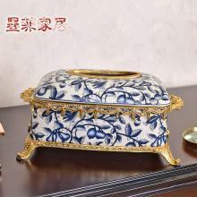 墨菲新中式古典輕奢陶瓷配銅紙巾盒創意客廳抽紙盒家用裝飾紙抽盒