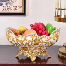墨菲 美式輕奢古典彩繪陶瓷配銅大水果盤現代客廳家居擺件干果盆