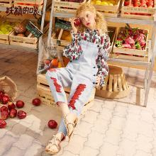 妖精的口袋破洞牛仔背带裤2019春季新款女chic裤子直筒休闲裤女裤