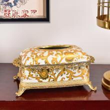 墨菲 美式复古陶瓷配铜纸巾盒新中式古典客厅家居饰品收纳盒摆件