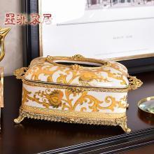 墨菲美式陶瓷配銅紙巾盒客廳餐桌茶幾復古裝飾品抽紙盒家居擺件