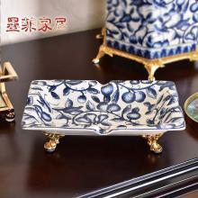 中式青花陶瓷配銅裝飾煙灰缸飾品創意家居辦公室小果盤糖果干果碟