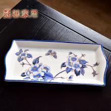 墨菲新中式古典手工陶瓷果盤美式鄉村餐桌茶幾長方形裝飾果碟托盤