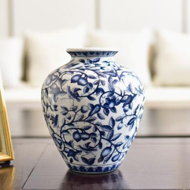 墨菲 新中式青花瓷水培花瓶现代客厅餐厅玄关仿真花艺插花器摆件