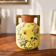 墨菲 欧式田园陶瓷水培花瓶美式客厅装饰摆件仿真花艺套装插花器