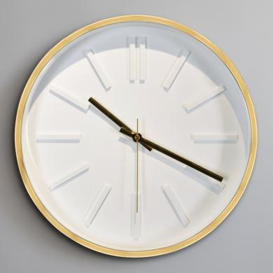 DEVY 現代簡約客廳金屬掛鐘北歐ins靜音極簡風掛鐘石英客廳鐘表