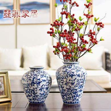 墨菲 新中式青花瓷水培花瓶現代客廳餐廳玄關仿真花藝插花器擺件