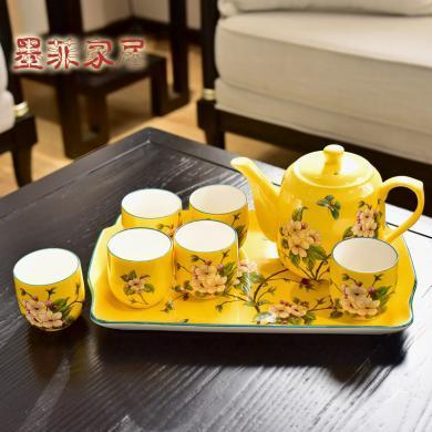 墨菲美式鄉村陶瓷粉彩茶壺套裝新中式茶具下午茶咖啡具涼水壺托盤