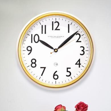 DEVY簡約現代客廳圓形靜音掛鐘鐘表創意家居臥室餐廳裝飾石英鐘表