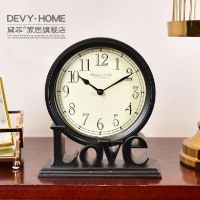 DEVY現代簡約座鐘鐘表臺鐘美式家居創意古典客廳臥室桌面時鐘擺件