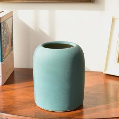 墨菲现代简约陶瓷磨砂手感花瓶新中式客厅餐桌酒柜装饰干花插花器
