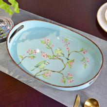 墨菲美式乡村铁艺托盘摆件欧式田园家用客厅茶几干果盘茶杯水果盘
