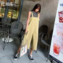 七格格阔腿工装裤女宽松bf夏季2019新款韩版卡其色裤子学生背带裤