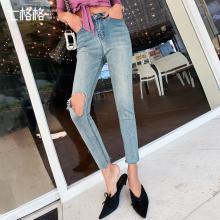 七格格破洞牛仔裤女高腰直筒显瘦夏季2019新款韩版铅笔小脚裤子潮