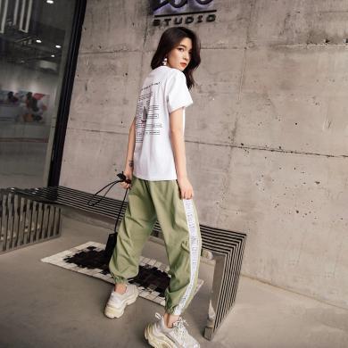 七格格短袖T恤女2019新款潮夏季閨蜜裝韓版寬松內搭黑白色打底衫