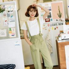 韩都衣舍2019夏装新款女装韩版宽松背带裤装套装时尚套装LZ8716烎