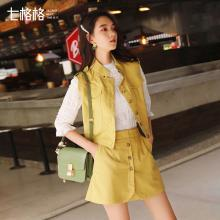 七格格无袖衬衫女韩版夏季装2019新款学生宽松短款衬衣马夹外套潮
