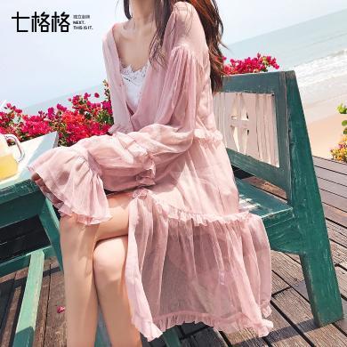 七格格雪纺衫外套女2019新款韩版外搭超仙洋气开衫披肩夏季配裙子