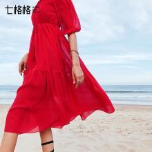 七格格法式复古裙2019新款夏季女装维多利亚裙超仙吊带露肩连衣裙