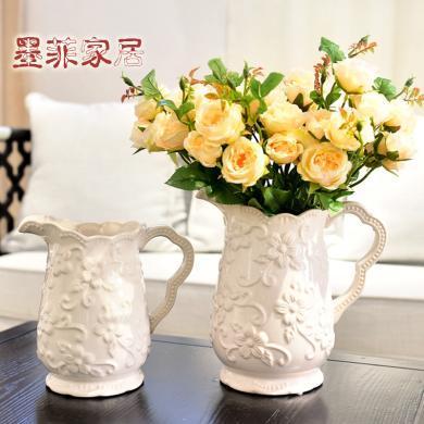 墨菲北欧式简约现代创意冰裂釉陶瓷花瓶客厅餐桌插花家居装饰摆件