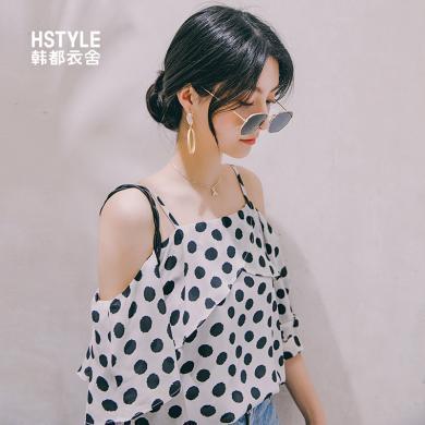 韩都衣舍2019夏装新款女装韩版宽松一字领波点雪纺衫OM91024樰