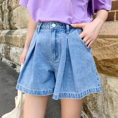 韓都衣舍2019韓版女裝夏裝新款寬松闊腿褲顯瘦牛仔短褲OM80084樰