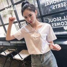 韩都衣舍2019夏装新款韩版宽松圆领上衣短袖白色T恤MY1281沐