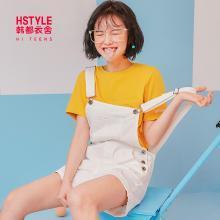 韩都衣舍2019夏装新款韩版女装宽松直筒背带裤牛仔短裤JQ01172樰
