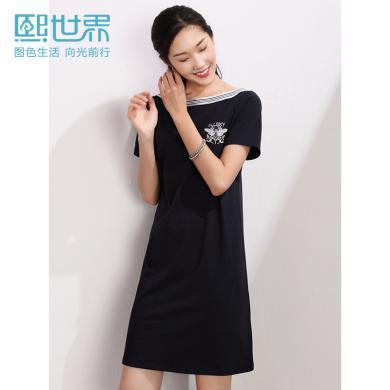 熙世界中長款刺繡A字裙2019年夏裝新款寶藍色短袖一字領裙子LL047