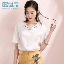 熙世界白色套頭純棉襯衫女2019年夏裝新款短袖喇叭袖V領襯衣上衣