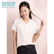 熙世界白色短袖插肩袖雪纺衫女士2019年夏装新款刺绣蕾丝拼接上衣
