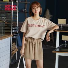 韩都衣舍2019夏装新款女装韩版宽松休闲两件套时尚套装IG8365僥