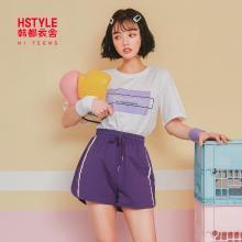 韩都衣舍2019夏装新款女装韩版休闲运动两件套时尚套装IG8415僥